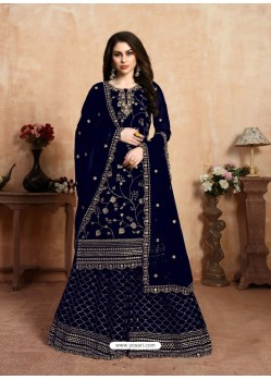 Navy Blue Designer Party Wear Faux Georgette Wedding Lehenga Suit