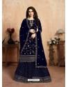 Navy Blue Designer Party Wear Faux Georgette Wedding Lehenga Suit