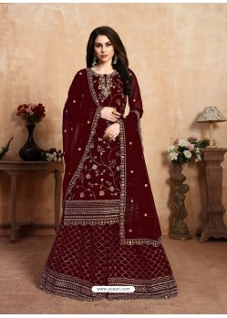 Maroon Designer Party Wear Faux Georgette Wedding Lehenga Suit