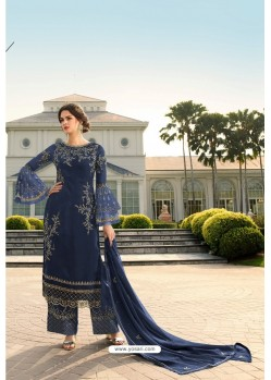 Dark Blue Designer Georgette Party Wear Palazzo Suit