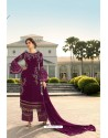 Deep Wine Designer Georgette Party Wear Palazzo Suit