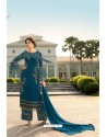 Teal Blue Designer Georgette Party Wear Palazzo Suit
