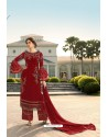 Red Designer Georgette Party Wear Palazzo Suit