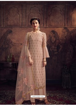 Peach Designer Rangoli Georgette Party Wear Palazzo Suit