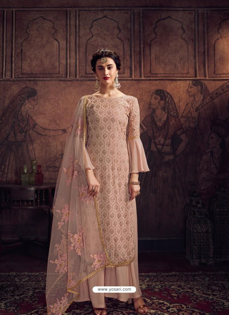 Peach Designer Rangoli Georgette Party Wear Palazzo Suit