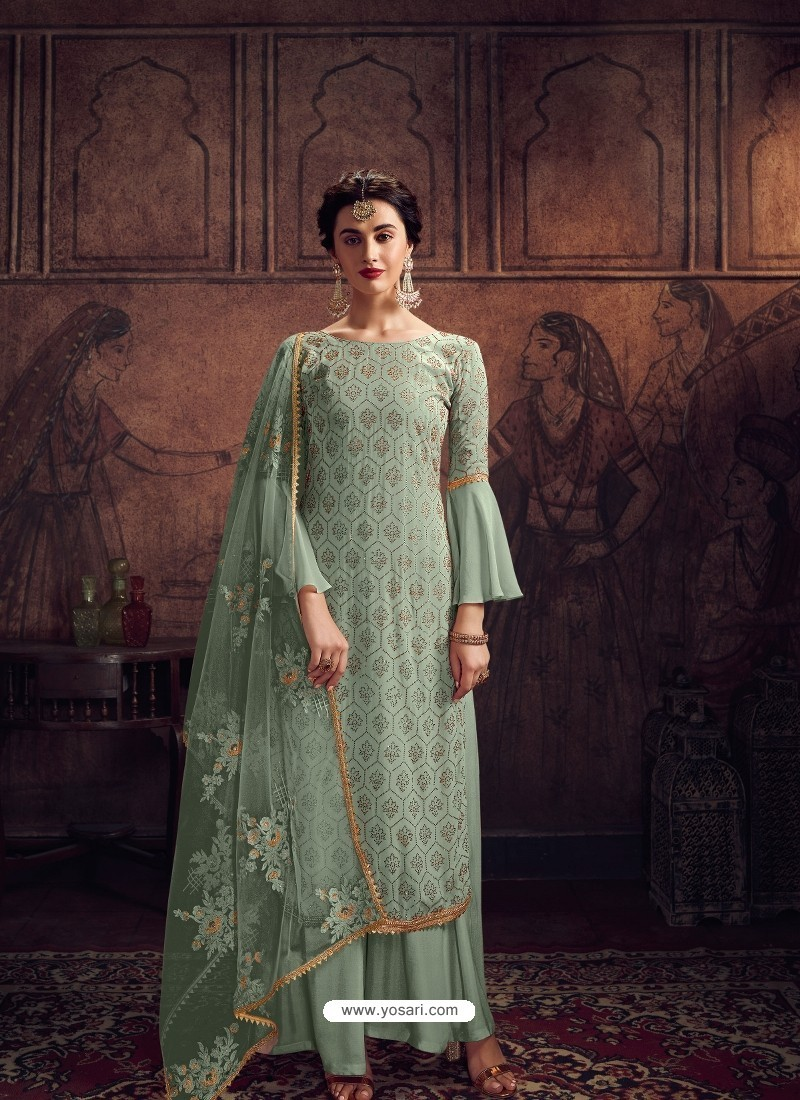 Sea Green Designer Rangoli Georgette Party Wear Palazzo Suit