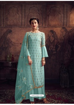 Sky Blue Designer Rangoli Georgette Party Wear Palazzo Suit