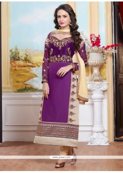Bedazzling Cotton Purple Zari Work Designer Straight Suit