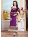 Bedazzling Cotton Purple Zari Work Designer Straight Suit