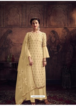 Cream Designer Rangoli Georgette Party Wear Palazzo Suit