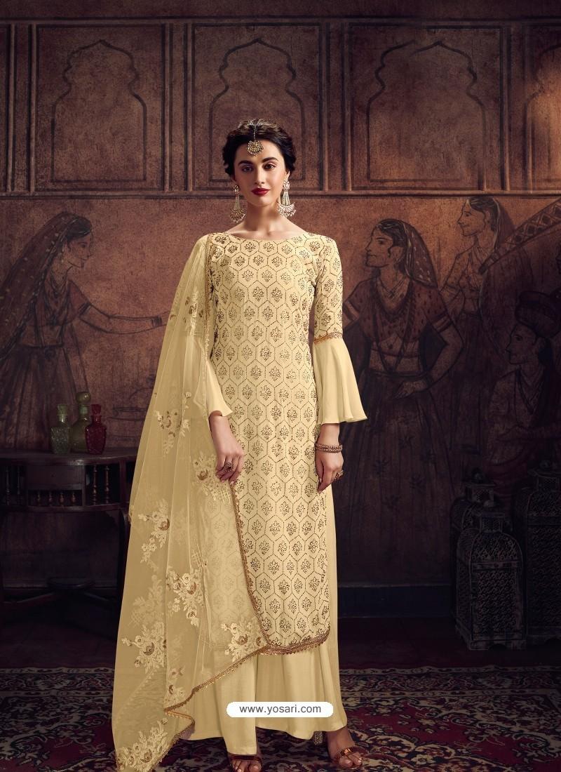 Cream Designer Rangoli Georgette Party Wear Palazzo Suit