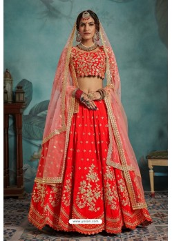 Red Trendy Heavy Embroidered Designer Bridal Lehenga Choli
