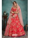 Flawless Red Trendy Heavy Embroidered Designer Bridal Lehenga Choli