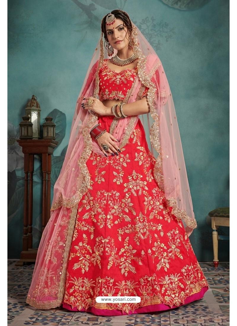 Flawless Red Trendy Heavy Embroidered Designer Bridal Lehenga Choli