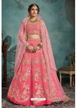 Light Pink Trendy Heavy Embroidered Designer Bridal Lehenga Choli
