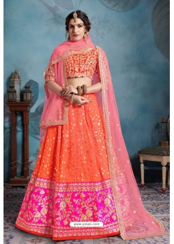 Orange Trendy Heavy Embroidered Designer Bridal Lehenga Choli