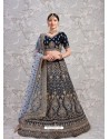Navy Blue Elegant Heavy Embroidered Designer Bridal Lehenga Choli