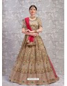Beige Elegant Heavy Embroidered Designer Bridal Lehenga Choli