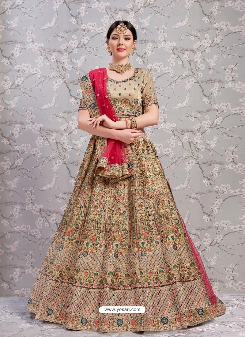Beige Elegant Heavy Embroidered Designer Bridal Lehenga Choli
