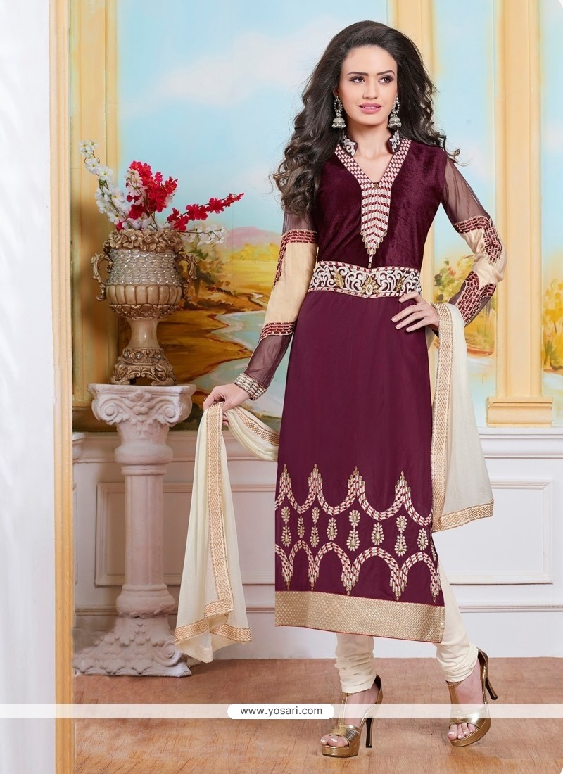 Intrinsic Cotton Resham Work Churidar Designer Suit