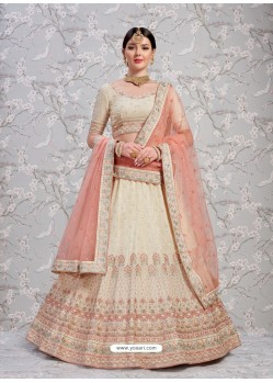 Off White Elegant Heavy Embroidered Designer Bridal Lehenga Choli