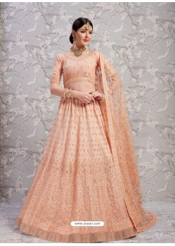 Light Orange Elegant Heavy Embroidered Designer Bridal Lehenga Choli