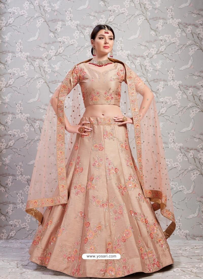 Light Brown Elegant Heavy Embroidered Designer Bridal Lehenga Choli