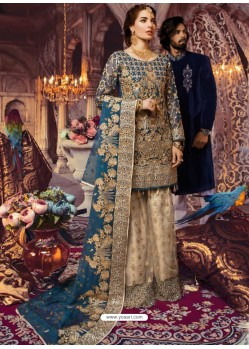 Teal Blue Latest Wedding Wear Designer Georgette Pakistani Suit