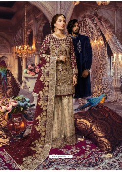 Maroon Latest Wedding Wear Designer Georgette Pakistani Suit