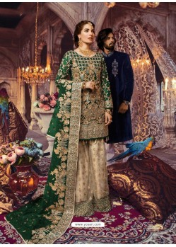 Dark Green Latest Wedding Wear Designer Georgette Pakistani Suit
