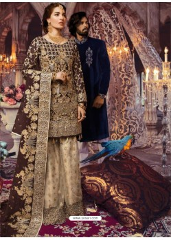 Coffee Latest Wedding Wear Designer Georgette Pakistani Suit