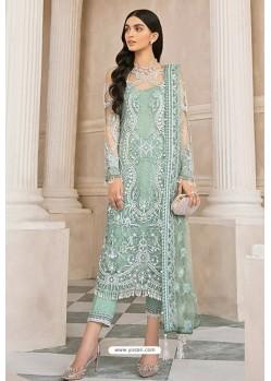 Olive Green Latest Party Wear Designer Butterfly Net Pakistani Suit