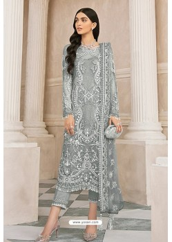 Grey Latest Party Wear Designer Butterfly Net Pakistani Suit