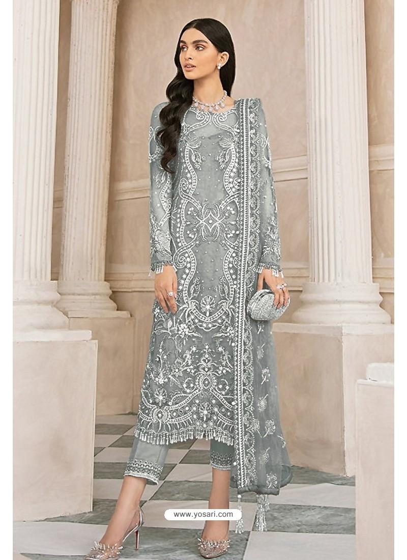 Grey Latest Party Wear Designer Butterfly Net Pakistani Suit
