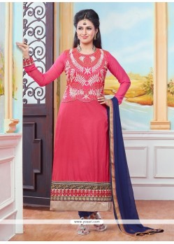 Preferable Hot Pink Cotton Designer Straight Salwar Suit
