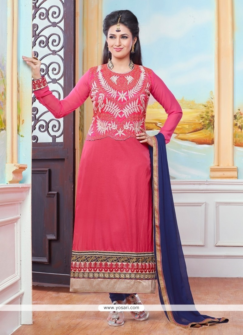 Preferable Hot Pink Cotton Designer Straight Salwar Suit
