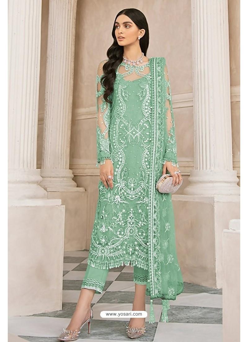 Sea Green Latest Party Wear Designer Butterfly Net Pakistani Suit