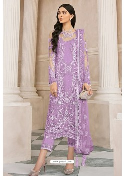 Mauve Latest Party Wear Designer Butterfly Net Pakistani Suit