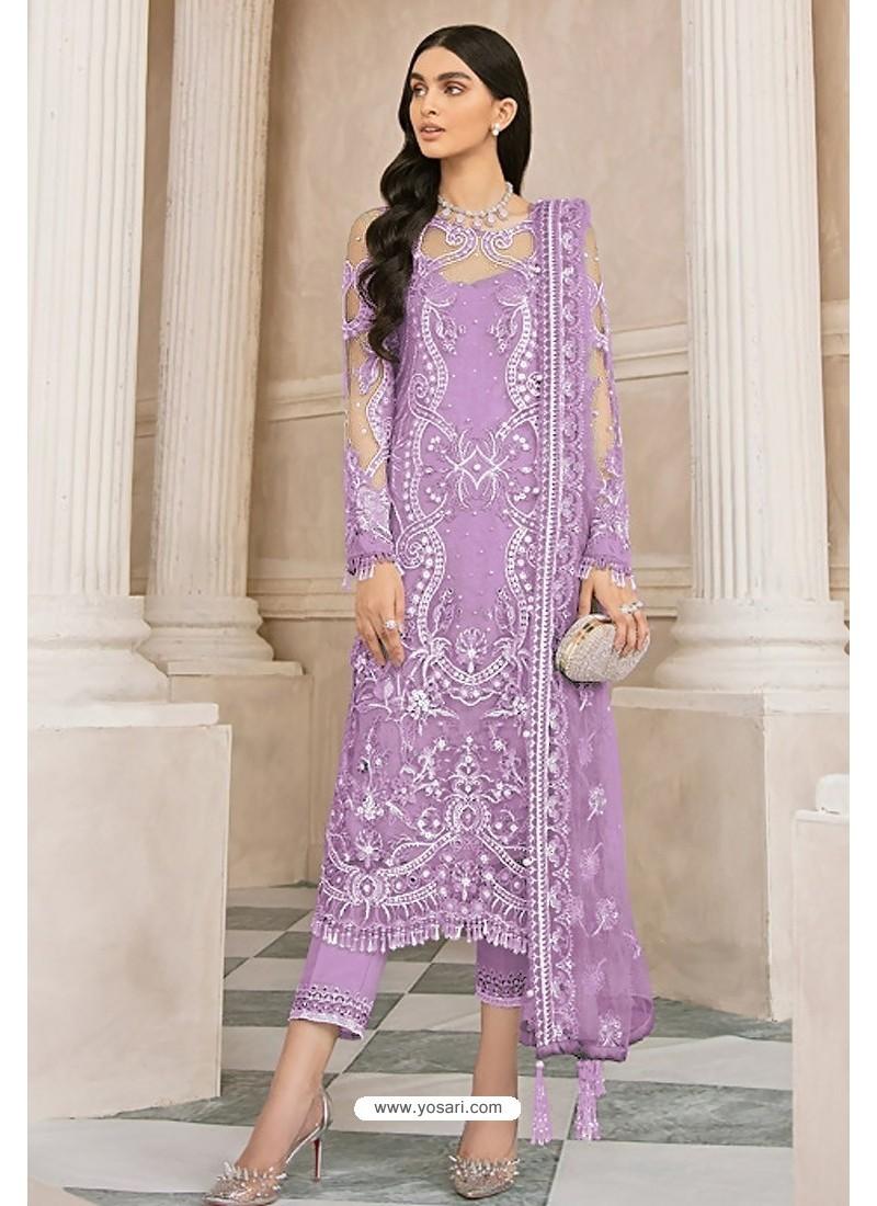 Mauve Latest Party Wear Designer Butterfly Net Pakistani Suit