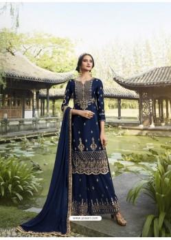 Navy Blue Designer Faux Georgette Party Wear Palazzo Suit