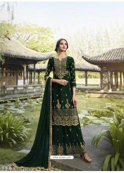Dark Green Designer Faux Georgette Party Wear Palazzo Suit