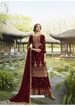 Dark Red Designer Faux Georgette Party Wear Palazzo Suit