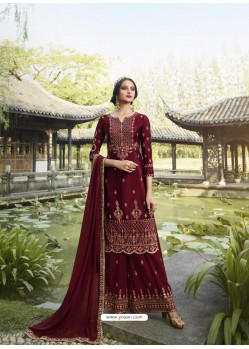 Maroon Designer Faux Georgette Party Wear Palazzo Suit