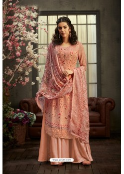 Peach Designer Pure Viscose Bemberg Georgette Palazzo Salwar Suit