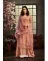 Peach Designer Pure Viscose Bemberg Georgette Palazzo Salwar Suit