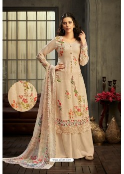 Cream Designer Pure Viscose Bemberg Georgette Palazzo Salwar Suit