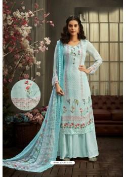 Sky Blue Designer Pure Viscose Bemberg Georgette Palazzo Salwar Suit
