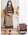 Subtle Embroidered Work Grey Designer Straight Salwar Suit