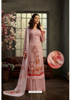 Dusty Pink Designer Pure Viscose Bemberg Georgette Palazzo Salwar Suit