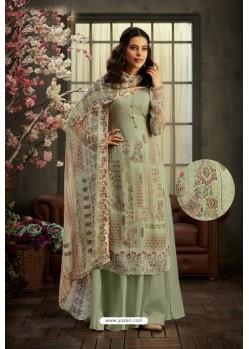 Olive Green Designer Pure Viscose Bemberg Georgette Palazzo Salwar Suit